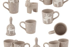 Collage from beige cups with deer