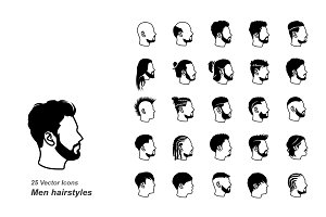 Male hairstyles vector icons