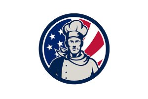 American Baker Chef USA Flag Icon