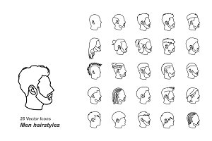 Male hairstyles outlines vector icon