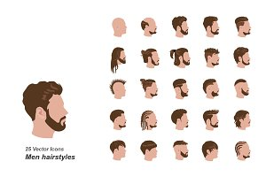 Male hairstyles color vector icons