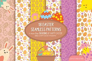 18 Easter seamless patterns & icons