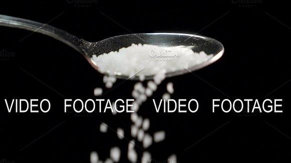 Sugar Falling From The Spoon In Dark Studio Slowmotion 180 Fps Shot