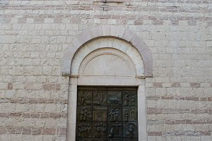 old stone Church with an iron door