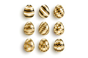 Gold eggs set with geometric pattern