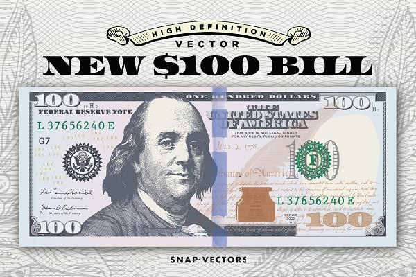 Vector New $100 Bill Template