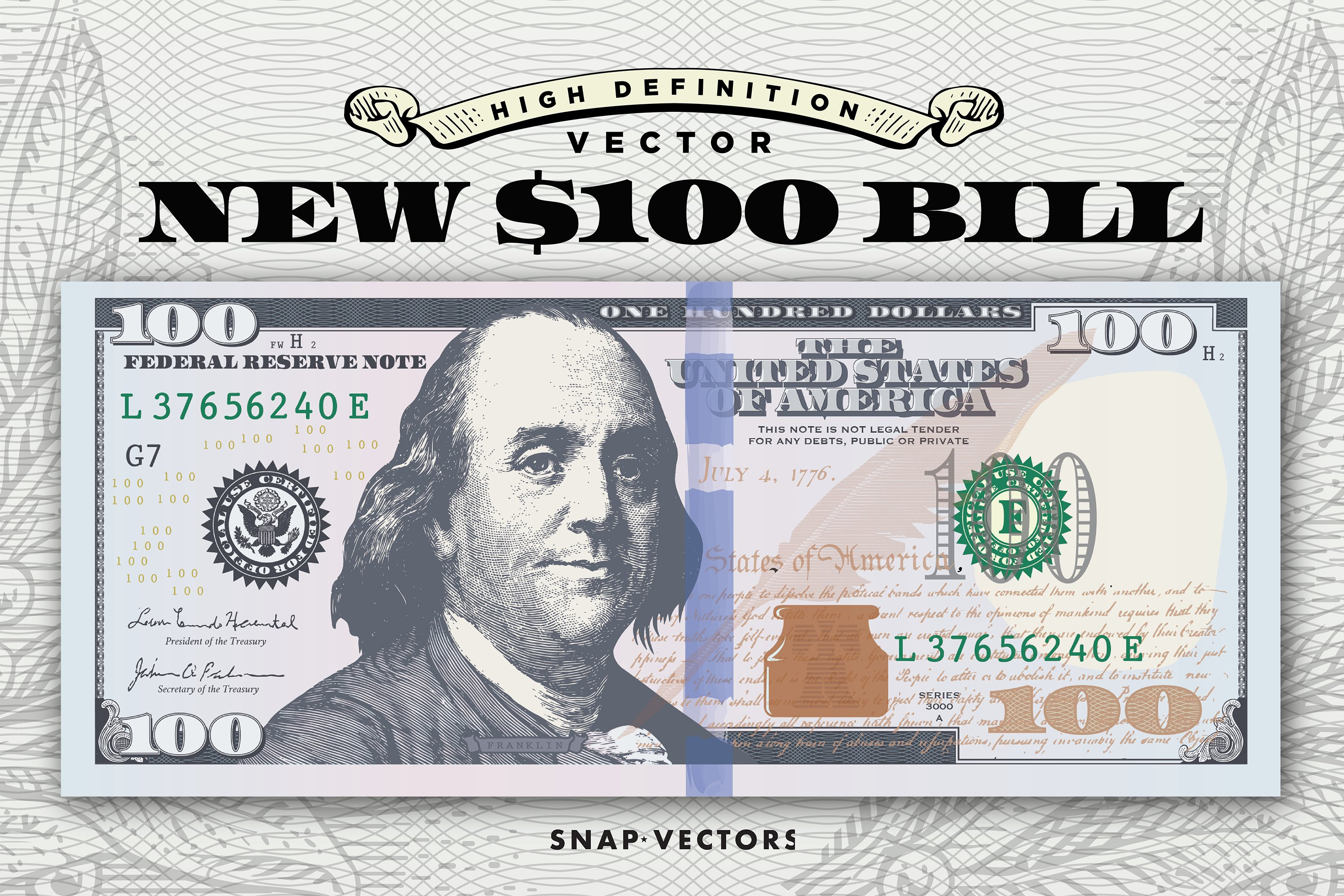 Vector New 100 Bill Template Illustrations Creative Market