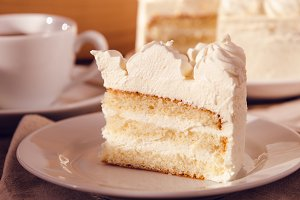 A piece of cake. White sweet cream