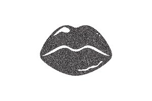 black grain lips icon