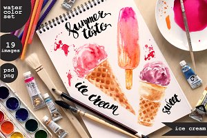Watercolor ice cream set