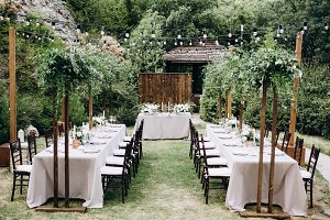 Rustic wedding dinner decoration