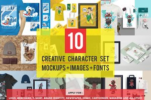 10 Character Set + Mockups
