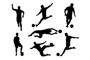 silhouette set of soccer player