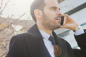 Businessman talking on movile phone