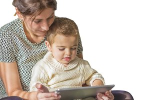 Mother and son playing on tablet