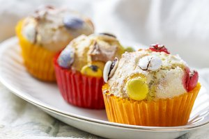 Muffins with candy.