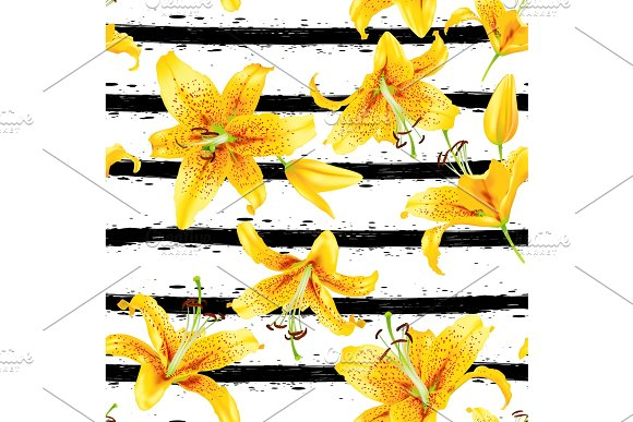 Background With Yellow Lily Flowers