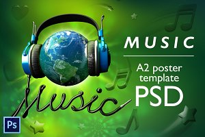 World music - PSD poster template