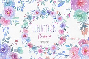 Unicorn flowers. Floral clipart