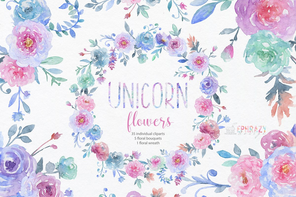 Unicorn flowers. Floral clipart | Custom-Designed ...