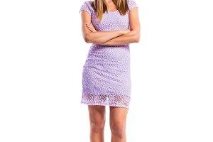 Girl in purple lace dress, heels, studio shot, isolated