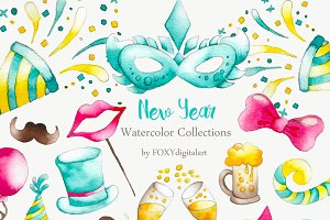 Watercolor New Year Party Clipart
