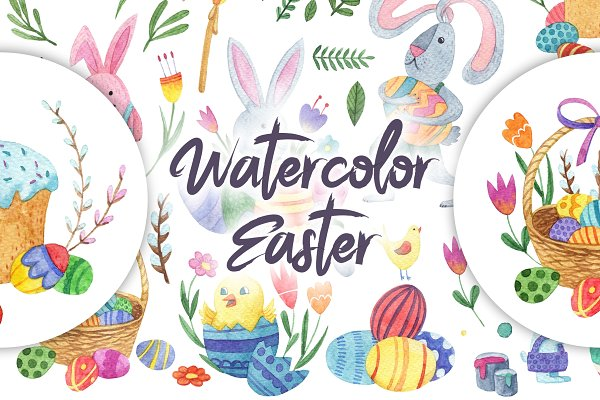 Watercolor bright Easter