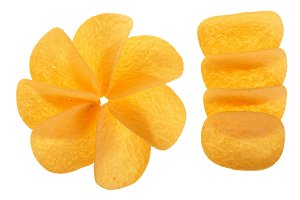 potato chips on white background close-up. Top view. Flat lay