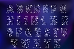 Alphabet ABC star galaxy font