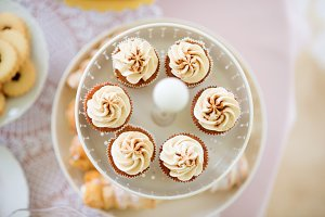 Close up, cupcakes with vanilla cream. Studio shot.