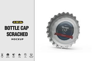 Bottle Cap Scrached MockUp