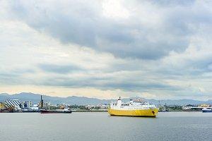 Yellow ship at Cebu Harbor