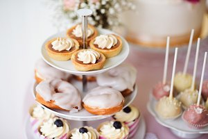 Tarts, cream puffs, cupcakes on cakestand. Cake pops.