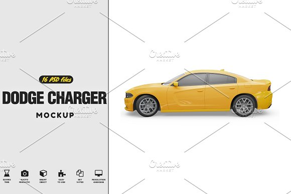 Dodge Charger MockUp-Graphicriver中文最全的素材分享平台
