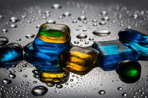Colored glass and water drops