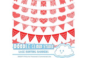 Red Lace Burlap Bunting Banners .