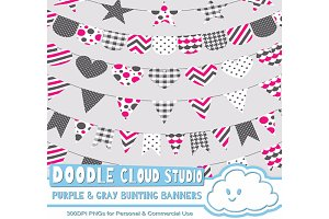Purple & Gray Pattern Bunting Banner