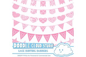 Pink Lace Burlap Bunting Banners .