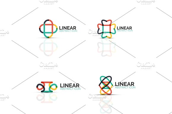 Set Of Abstract Flower Or Star Minimalistic Linear Icons Thin Line Geometric Flat Symbols For Business Icon Design Abstract Buttons Or Emblems