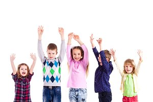 Children with raised hands