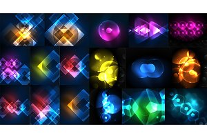 Mega collection of neon abstract shape backgrounds, magic fantastic glowing templates for web or techno digital presetation idea