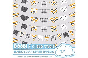 Orange & Gray Pattern Bunting Banner