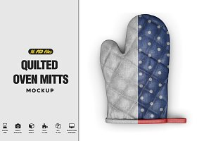 Quilted Oven Mitts Mockup
