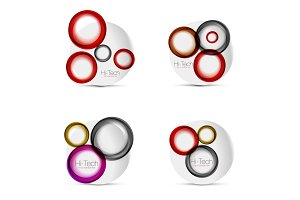 Set of circle web layouts - digital techno round shapes - web banners, buttons or icons with text. Glossy swirl color abstract circle designs, hi-tech futuristic symbol, rings