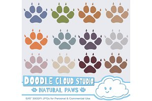 Natural Paw Prints Clipart  Dog  Cat