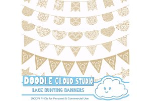 Natural Ecru Lace  Bunting Banners .