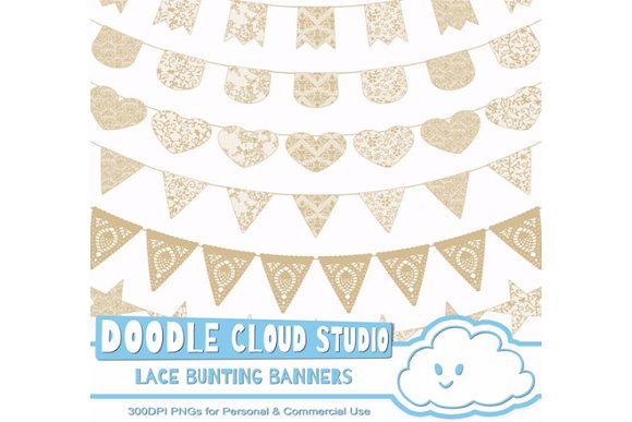 Natural Ecru Lace Bunting Banners