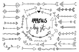 Hand drawn doodle arrows clipart