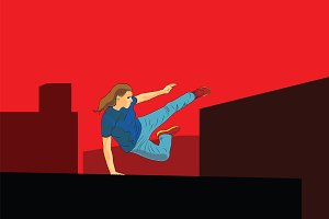 Girl jumping. Parkour in the city