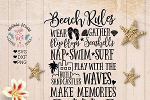 Beach Rules Cut File and Printable